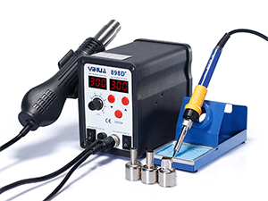 SMD Soldering Iron /& Hot Air Rework Station 898D Digital 2 in 1 W// 11 Iron tips