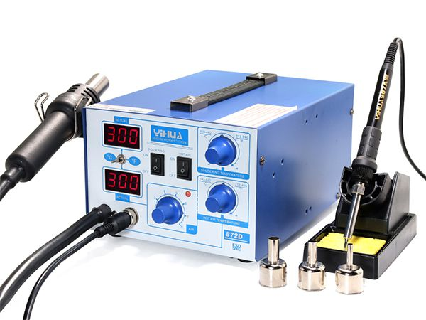 YIHUA Soldering Iron Station Rework Kit Hot Air Gun Digital LED Welder 968DA