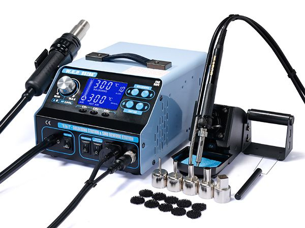 LCD Display Fan type Hot Air Soldering Rework Station with Smoke Absorber, Item WEP 992DA+