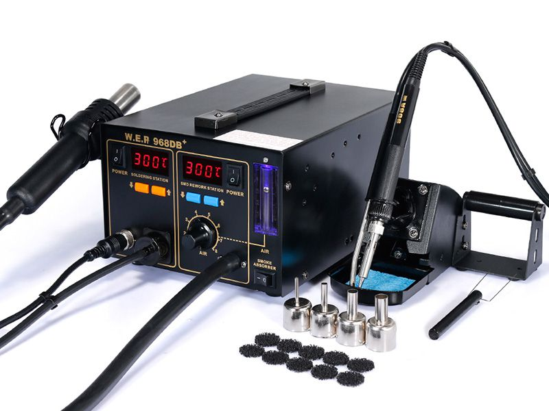 Pump Type Hot Air Soldering Rework Station with Smoke Absorber and Wind Speed Ball, Item WEP-968DB+